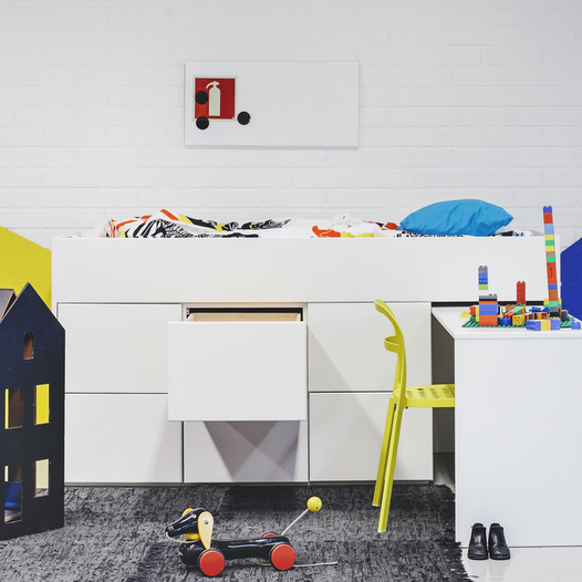 AVA Little Loft 6 and desk (white/black)